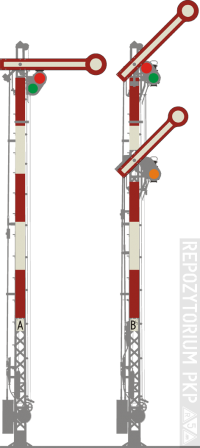 Semafor kształtowy na słupie kratownicowym